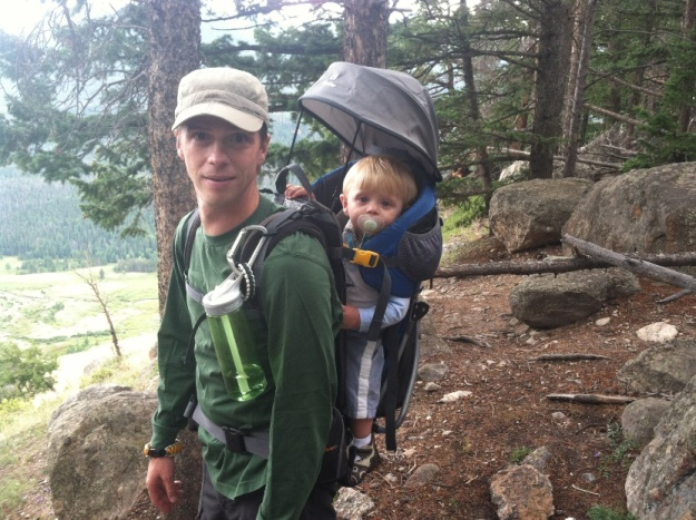 Tony hiking with his son