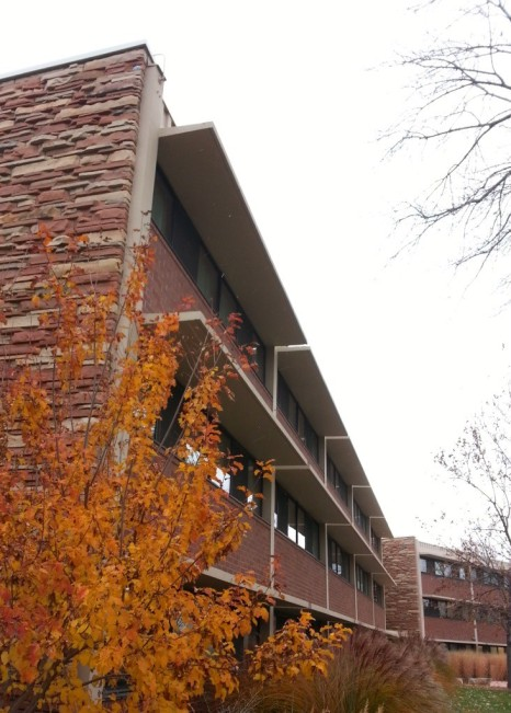 Fall lingers at Ingersoll Hall, even as the snow blows in. Image by Jill Salahub